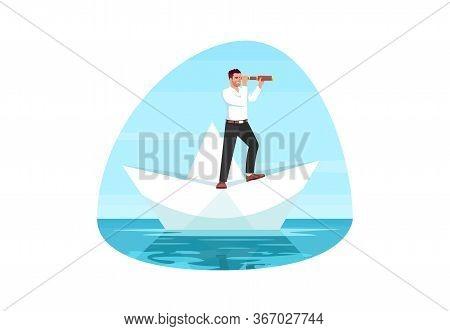Business Goal Semi Flat Vector Illustration. Businessman Look For Target. Motivation To Achieve Succ