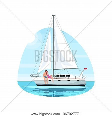 Couple On Regatta Semi Flat Vector Illustration. Man And Woman On Romantic Date. Boyfriend And Girlf