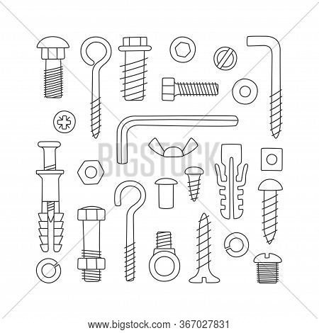 Set Of Fasteners. Bolts, Screws, Nuts, Dowels And Rivets In Doodle Style. Hand Drawn Building Materi