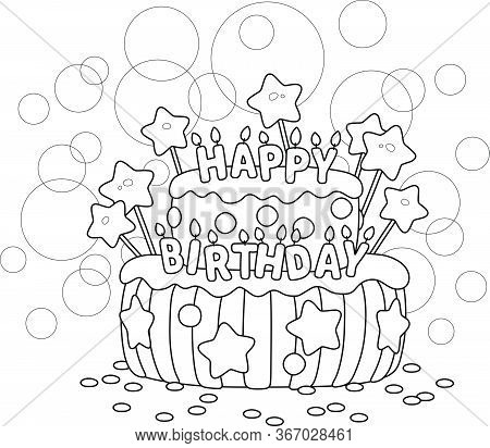 Fancy Sweet Birthday Cake Decorated With Burnings Letters Candles, Black And White Outline Vector Ca