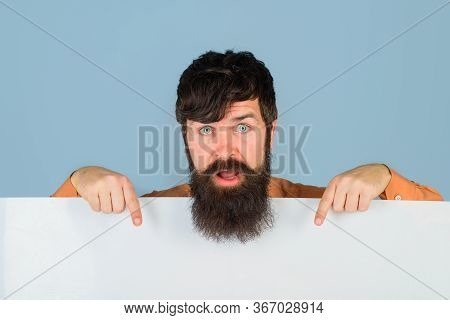 Copy Space. Advertising. Bearded Man With Blank Board. Space For Text. Surprised Man Holds Empty Boa