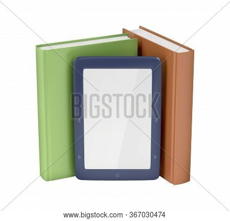 Blue E-reader And Two Books On White Background, 3d Illustration