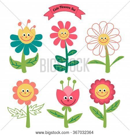 Cute Cartoon Flowers In Childlike Flat Style Isolated On White Background. Vector Illustration.