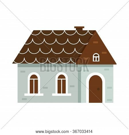 Cute Dwelling House With Bright Colors. Isolated Vector Illustration In A Flat Style. Home Sweet Hom
