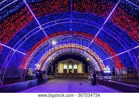 Anapa, Russia - February 17, 2020: A Festive Canopy Of Garlands Decorated For The New Year Holidays