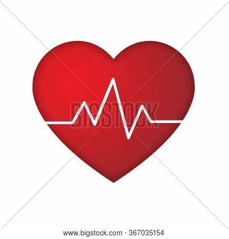 Heartbeat Line. Pulse Trace. Ekg And Cardio Symbol. Healthy And Medical Concept. Vector Illustration