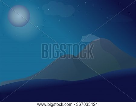 Beautiful Landscape. Dark Background, Night Sky With Stars And A Full Moon. A High Massive Mountain