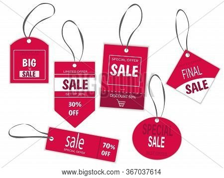 Set Of Red Labels For Sale. Discount 30, 40, 50.70 Percent Special Offer. Labels For Advertising Pro