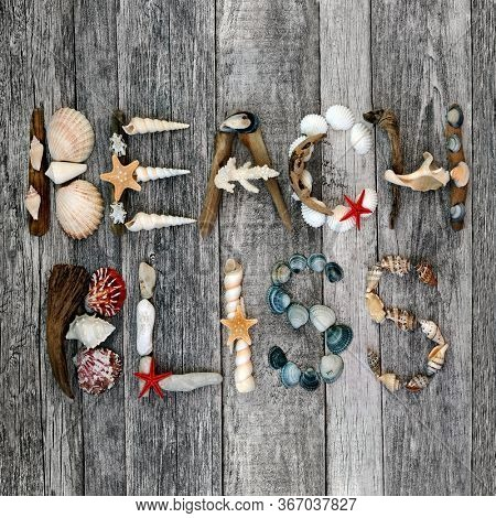 Abstract design of driftwood, seashells and pebbles forming the word beach bliss on rustic wood background. Summer holiday theme.