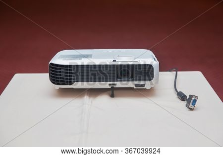 Lcd Projector Technology Video Presentation And Home Entertainment Object . Mini Led Projector On Wo