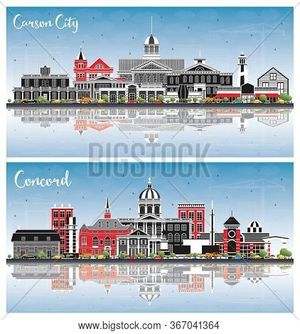 Concord New Hampshire and Carson City Nevada City Skylines Set with Color Buildings, Blue Sky and Reflections. Modern Architecture. Cityscapes with Landmarks.