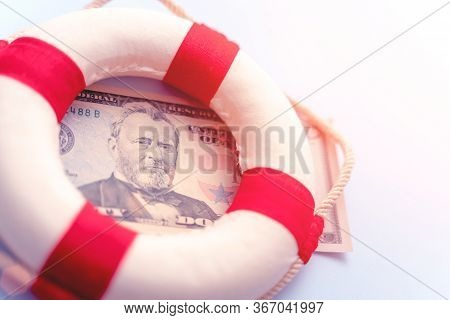 Abstract Fast Emergency Rescue Business Financial Economics Crisis. Concept Of Fix Economy Financial