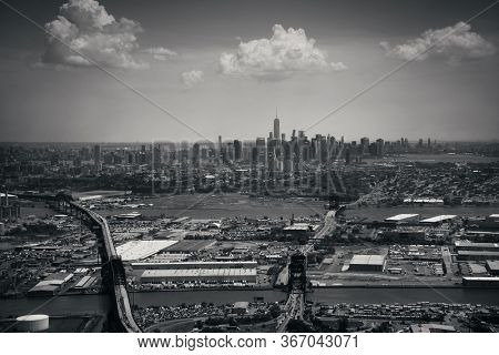 Downtown New York City aerial view with One World Trade Center and New Jersey