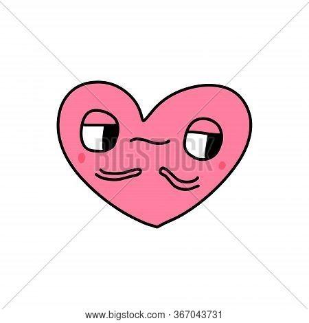 Envy Heart Symbol Doodle Illustration Icon In Cartoon Comic Kawaii Face