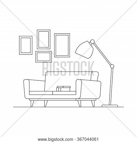 Cozy Linear Interior Scene. Lamp, Sofa, Books, Picture Isolated On White Background. Part Of Cozy Ho