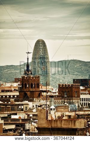 Barcelona skyline view with Torre Glories in Spain.