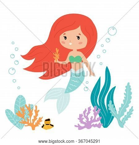 Cute Kawaii Cartoon Mermaid With Seaweed And Coral. Vector Illustration For Children Books And Greet