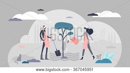 Planting Vector Illustration. Tree Cultivation Flat Tiny Persons Concept. Forestation Process As Sus
