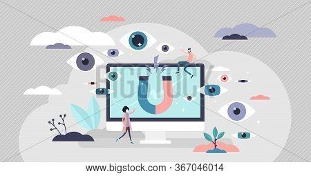 Views Vector Illustration. Attract Blog Audience Flat Tiny Persons Concept. Social Media Platform Ch