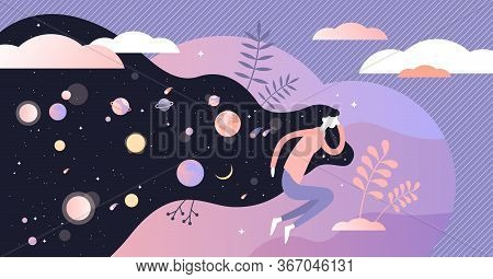 Dreams Vector Illustration. Abstract Night With Deep Sleep Visualization Flat Tiny Persons Concept.