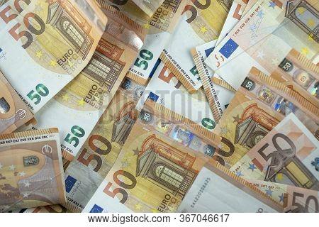 Carpet Of 50 Euro Banknotes. Euro Money Notes. Fifty Euro Banknotes. Euro 50 Currency Notes - Busine