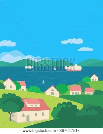 Summer Rural Green Valley Landscape Flat Color Vector. Blue River Village Scenic View Poster. Town H