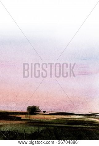 Abstract Watercolor Background. Blurry Field Against Gentle Sunrise Sky Of Pastel Shades. Soft Gradi