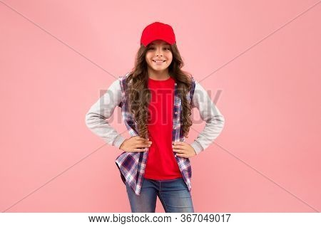 Casual That Best Suits You. Happy Kid Pink Background. Little Girl In Casual Style. Cool Casual Wear