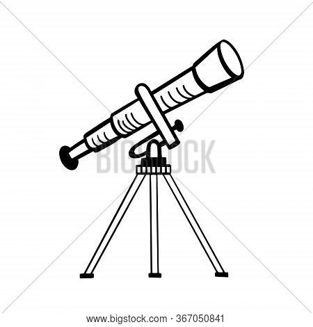 Telescope. Vector Drawing Of A Telescope. Doodle Style Illustration.