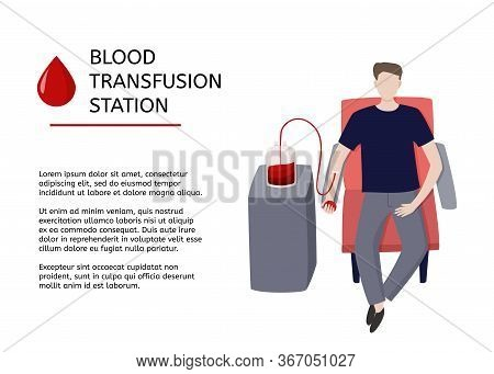 Blood Transfusion Station. Graphic Design Template For Medical Article With Blood Donor And Sample T