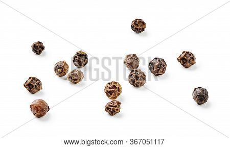 Heap Of Black Pepper Isolated On White Background. .