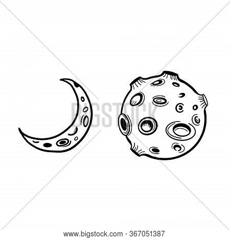 Moon. The Moon And The Crescent. Moon Phases. Vector Doodle Style Doodle.