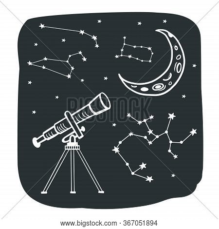 Constellations. Telescope And Constellations. Doodle Style Vector Illustration. Space Illustration