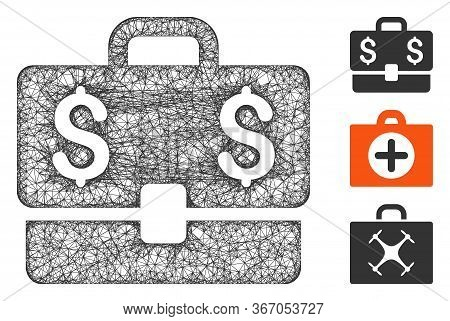 Mesh Accounting Case Web Icon Vector Illustration. Model Is Created From Accounting Case Flat Icon.