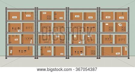Warehouse. Storage. Shelvings With Cardboard Boxes. Warehouse Racks. Vector Flat Illustration