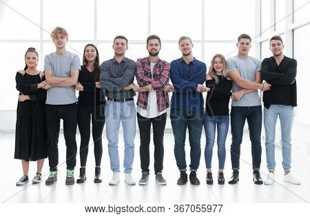 group of creative youth standing in a row