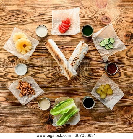 Shawarma Watches And Ingredients - Time To Eat. Gyro Pita Ingredients. Shawarma, Gyros, Pita Bread,