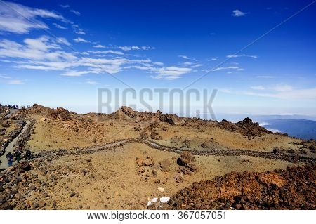 Mars Red Planets Desert Landscape. Teide National Park. Beautiful View Of Teide Volcano. Desert Crat