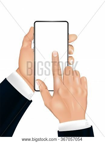 A Human Hand With Smartphone And Index Finger On The Touchscreen. 3d Realistic Mobile Phone And Male