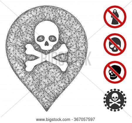 Mesh Death Marker Web Icon Vector Illustration. Model Is Based On Death Marker Flat Icon. Network Fo