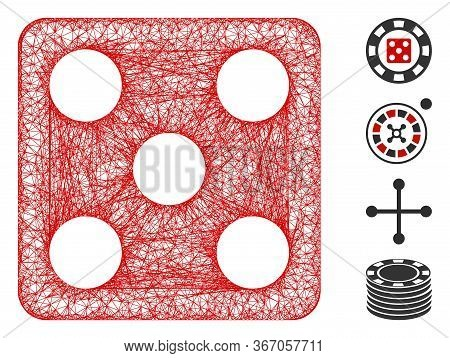 Mesh Dice Web Symbol Vector Illustration. Carcass Model Is Based On Dice Flat Icon. Network Forms Ab