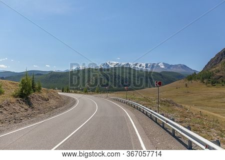 Summer In Altai Russia, Winding Road To Altai Mountains, Beautiful Summer Viewof Altai Mountains.