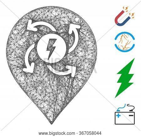 Mesh Electric Motor Marker Web Icon Vector Illustration. Model Is Based On Electric Motor Marker Fla