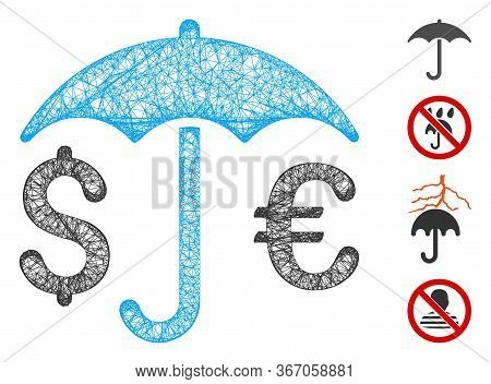 Mesh Financial Umbrella Web Icon Vector Illustration. Carcass Model Is Based On Financial Umbrella F