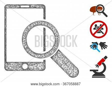 Mesh Find Smartphone Web 2d Vector Illustration. Carcass Model Is Based On Find Smartphone Flat Icon