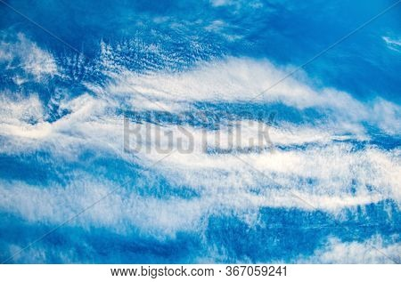 Summer Bright Blue Sky With Clouds Outdoor Background