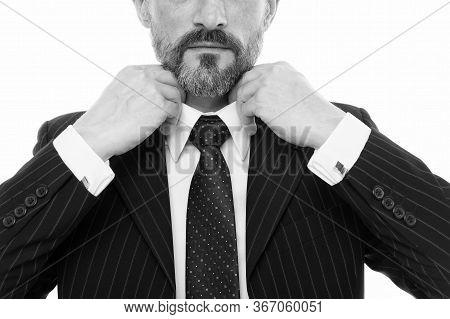 Wearing Collar And Tie. Male Hands Tie Necktie, Selective Focus. Formal Tie Collection. Tying Neck T