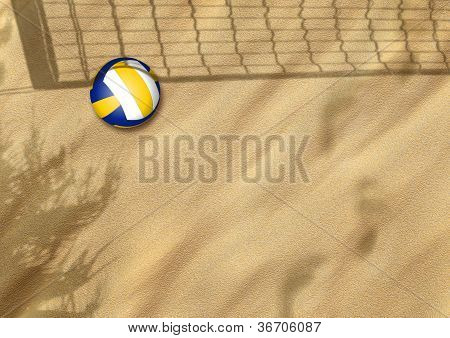 beach volleyball on sand sport background with space poster