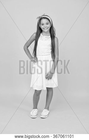 Welcome Summer In Style. Happy Child Enjoy Fashion Style. Vogue Look Of Little Girl. Style And Fashi