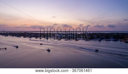 Aerial View Of Ono Island And Ole River In Orange Beach, Alabama At Sunset